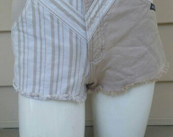 Vintage Rockies Brand Tan and White Cutoff High waisted Shorts Womens size 0, XS