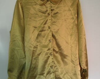 Vintage Diane Von Furstenberg Gold Blouse, The Color Authority, Flower Buttons, 1990s