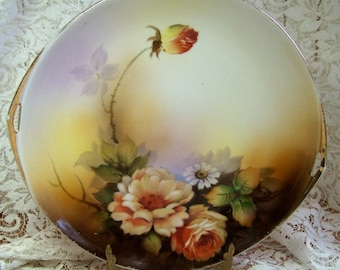 Noritake - Plate for Hanging - Beautiful Floral in Earthtones - Handled -Gilded - Vintage