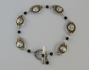 Handmade Silver Bracelet, Silver Flower Bracelet, Silver Link Bracelet, Silver and Pearl Bracelet, Silver and Black Bracelet, Gift