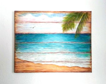 Beach Painting Original Canvas Wood Look Pallet Look Ocean Shore Palm Tree Summertime Nautical Rustic Shabby Chic Painting