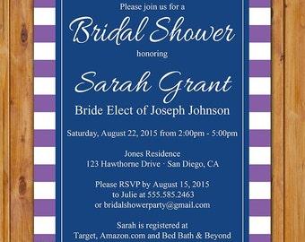 Purple Navy Bridal Shower Party Invitation Orchid Navy Blue Stripes Invite Printable 5x7 Digital JPG File (245)