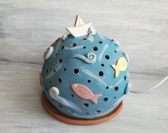 Ceramic table lamp-fish lamp-house decoration-gift for home-handmade ceramics-home decor-lantern