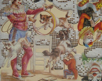 England Vintage Victorian Circus Clowns Lithographed Die Cut Paper Scraps A 102 Out Of Print
