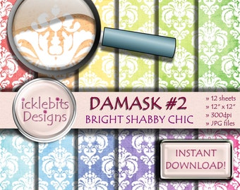 "Bright Shabby Chic Damask Digital Paper Pack, ""DAMASK #2"" For Scrapbooking, damask digital paper, shabby chic digital paper, Design #84"