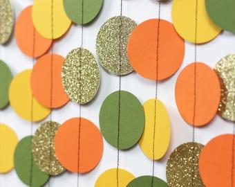 Autumn Wedding Garland - Green and Gold Glitter Garland - Fall Wedding Decor - Paper Garland