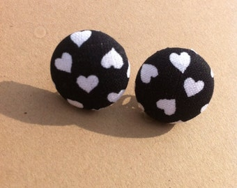 Black with white hearts fabric cover button earrings