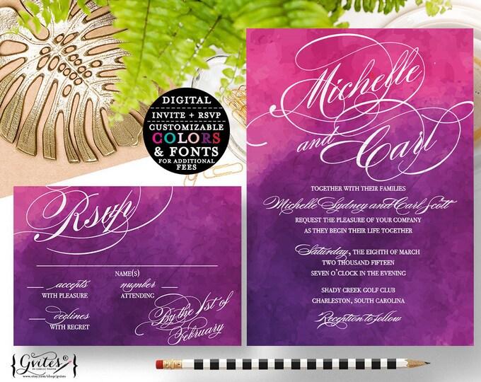Pink and Purple wedding invitation, purple, lavender, pink, eggplant Modern invitation response card, digital file, 5x7 & 5x3.5