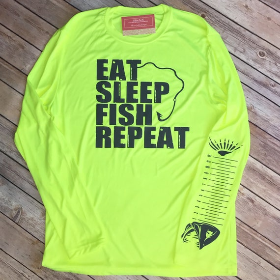 Eat, Sleep, Fish, Repeat Mens fishing shirt. 50 UPF