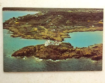 Vintage Postcard Maine Lighthouse Nubble Light York Beach ME Lighthouse Postcard Aerial View