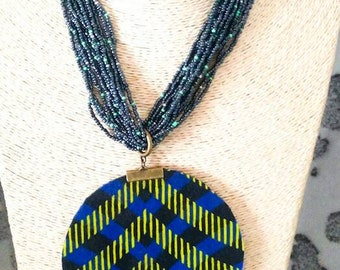 African wax fabric pendant necklace.
