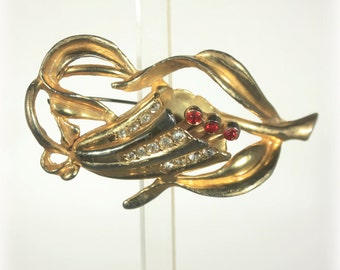 Large Coro Trumpet Flower Brooch,  Gold Tone, Over Sized, Mid Century Jewelry, Vintage Over Sized
