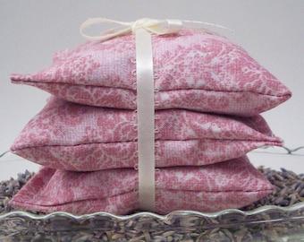 Lavender Sachets - Moth Repellent Drawer Freshener - Aromatherapy Sachet - Classic Lavendar Sachets - Gifts for Women - Pink Damask