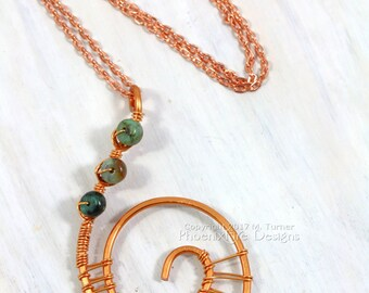 Spiral Copper Necklace Steampunk Jewelry Celtic Spiral Copper Pendant Wire Wrapped Jewelry Fibonacci Golden Ratio Spiral Pendant OOAK RTS