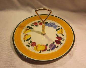 Vintage Stangl tidbit tray, cookie tray - Festival fruit pattern