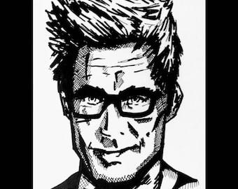 comic book style drawing, pen, celebrity, portrait, A4