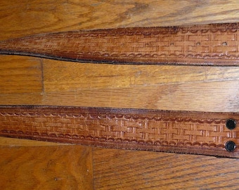 Vintage 70's Tooled Brown Leather Belt with Brown Leather Buckle Size 32