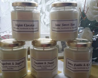 Woodsmoke scented candle, handmade by Klairs Kandles, using natural soy wax, great for gifts, vegan friendly