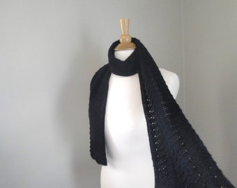 Cashmere Scarf Women, Midnight Black, Hand Knitted, Lace Scallop Design, Scarf for Her, Pure Cashmere