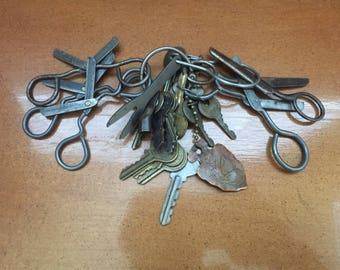 Vintage Kids Safety Scissors and Vintage Keys and  Vintage Copper Arrowhead Key Ring
