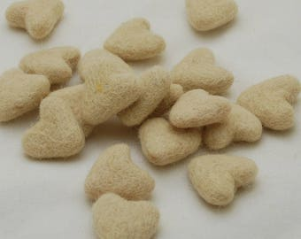 3cm 100% Wool Felt Hearts - 10 Count - Champagne