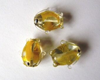Set of 3 glass lampwork fish beads