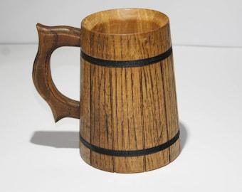 Handmade Wooden Beer Mug Natural Oak Eco