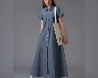 Denim maxi dress Blue summer dress Loose boho jean dress  Short sleeved long cotton fabric dress