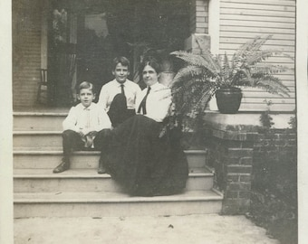 vintage photo Mother and 2 Boys on Porch Steps 1909