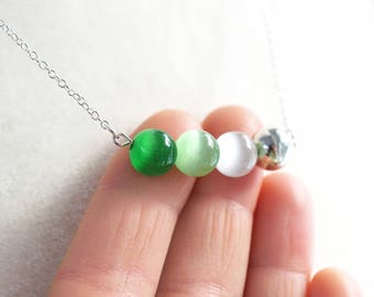 Mothers Day Gift St Patricks Day Necklace Green Ombre Bar Necklace Sterling Silver Chain Irish Necklace Fiber Optic Cats Eye Ball Necklace