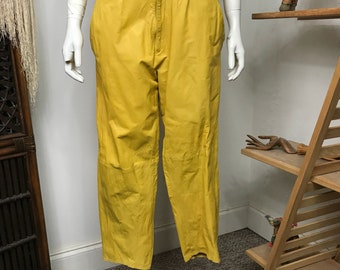 Vtg 80s yellow crinkled low waist leather pants