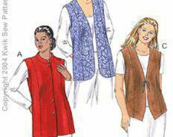 Kwik Sew 3257 Women's Lined Vest 1x -4x New in Envelope