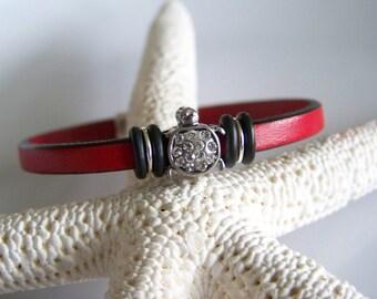 Red Leather Crystal Turtle Focal Bracelet - Item R2525