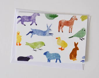 Greeting Card with Multicoloured Country and Farmyard Animals