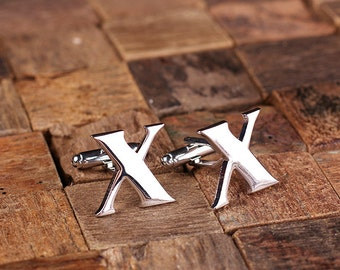 "Initial ""X"" Personalized Men's Classic Cuff Link with Wood Box Monogrammed Engraved Groomsmen, Best Man, Father's Day Gift"