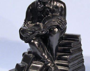 "Rare Elbert Hubbard ""The Bookworm"" Single Bronzed Metal Bookend by Nuart Vintage Roycroft Arts & Crafts Founder"