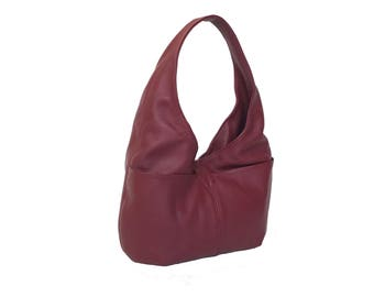Leather Hobo Bag Purse with Pockets, Slouchy Hobo Bag, Handmade Handbags, Women Purses, Casual Bags, Red Handbag, Soft Leather Purse, Alicia