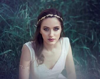 Fleurs Bouquets Couronne, bandeau de feuille d'or, diadème de Bohème, Front bande Accessoires de cheveux de mariée grecque en or Rose diadème Couronne perle d'argent