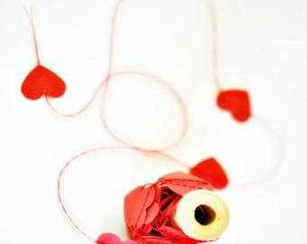 Tiny Red Heart Garland   Tiny Red Heart Garland   Stitched Paper Garland   Wedding Engagement Birthday   Valentine Gift under 10