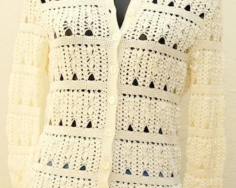 Vintage ivoiry crochet cardigan Size 36 FR