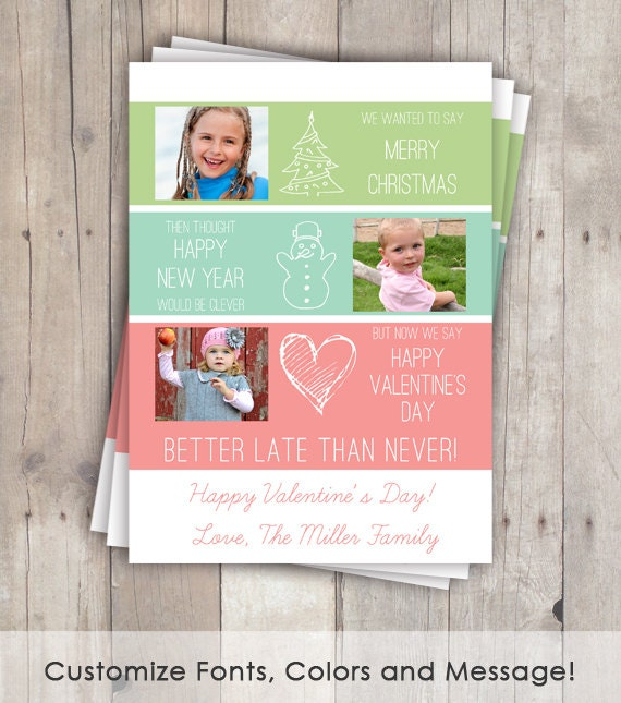 Items similar to belated christmas cards funny valentine day cards items similar to belated christmas cards funny valentine day cards better late than never photo cards on etsy m4hsunfo