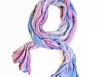 Lavender silk scarf, lavender skinny scarf, crinkle scarf, silk chiffon scarf, crinkle chiffon scarf, blush pink, periwinkle, lavender scarf