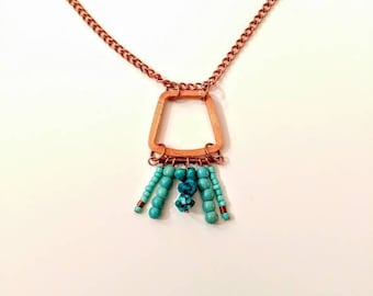 Unique Upcycled Copper & Turquoise necklace