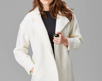 Cream Cocoon Coat | Wool Blend