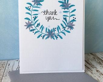 Thank You Card - Laurel Wreath Card - Blue Floral Thank You Card Card - Wreath Thank You Card