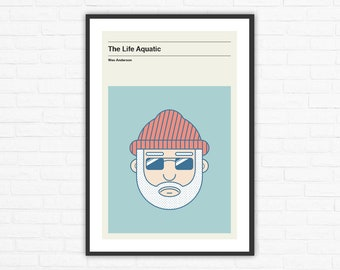 Wes Anderson, The Life Aquatic Steve Zissou Minimalist Movie Poster