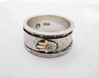 Spinner Ring for Women, Silver Fidget Ring, Anxiety or Meditation Ring with Hamsa Hand, Israeli Jewelry, Grass