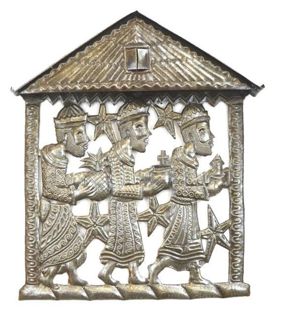 "Three Kings, Three Wise Men  Recycled Metal Art from Haiti, 12"" x 14"""
