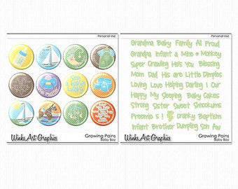 Growing Pains Baby Boy Digital Flairs & Word Art for Scrapbooking