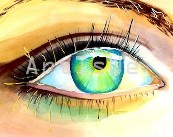 Eye Painting, Eye Artwork, Eye Watercolor Painting, SALE